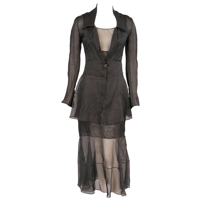 Chanel Haute Couture Sheer Black Silk Dress and Jacket For Sale