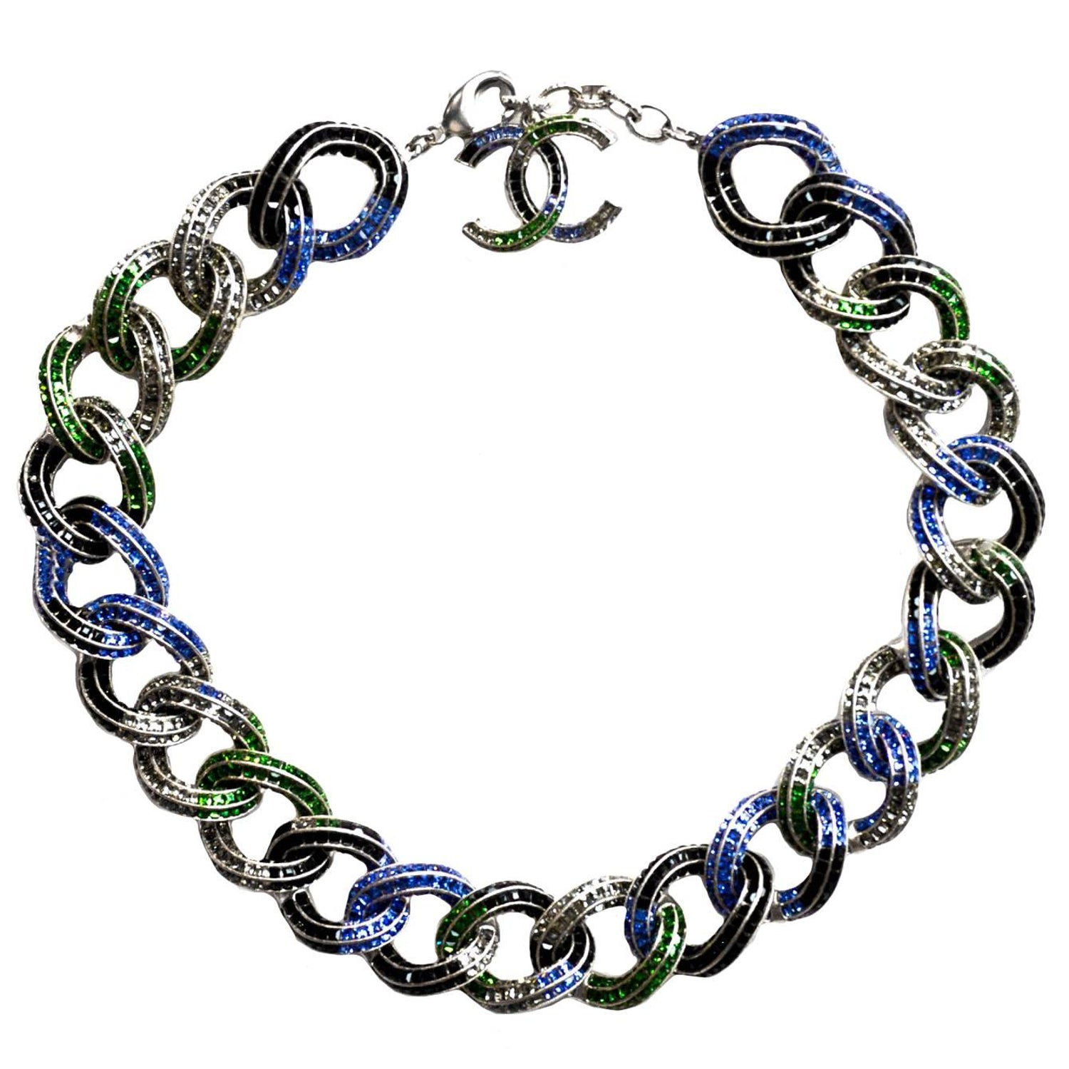 67a7c10ecefc Chanel '15 Runway Multi-Colored Crystal Encrusted Chain Link Necklace rt.  $6,650 at 1stdibs