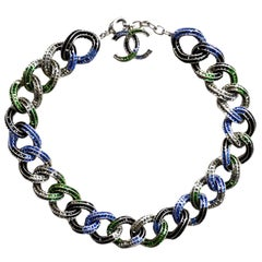 Chanel '15 Runway Multi-Colored Crystal Encrusted Chain Link Necklace rt. $6,650