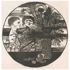 """Children & Still Life,"" Woodcut by Leonard Baskin, 1956"