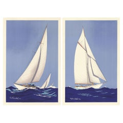 Pair of Mid-Century French Sailing Ships by Georges Fouillé
