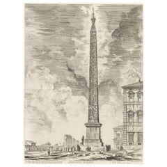 Obelisco Egizio (Egyptian Obelisk) from Vedute di Roma Etching by Piranesi