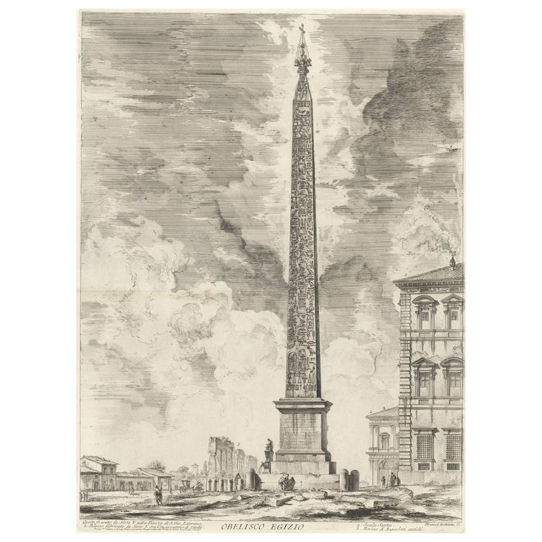 Obelisco Egizio (Egyptian Obelisk) from Vedute di Roma Etching by Piranesi - Print by Giovanni Battista Piranesi
