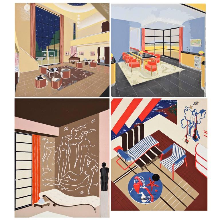 Henry delacroix four prints from d coration moderne dans for Decoration interieur moderne