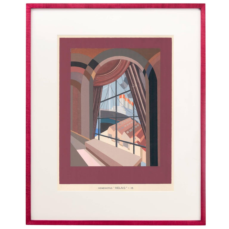 Pochoir print, Plate 15, from Relais by Edouard Benedictus. Printed by J. Saudé. Paris, Éditions Vincent, Fréal et Cie, 1930. Framed in a red-stained handmade wood frame with UV filtering acrylic and an archival mat. Item available unframed for