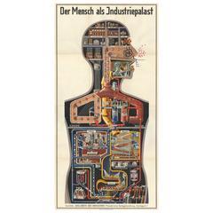 """""""Der Mensch als Industriepalast"""" Poster by Fritz Kahn, 1926"""