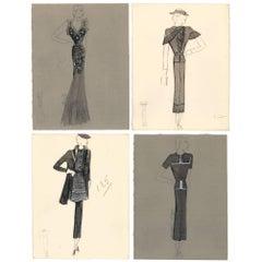 Original French Art Deco Fashion Designs by Charlotte Revyl