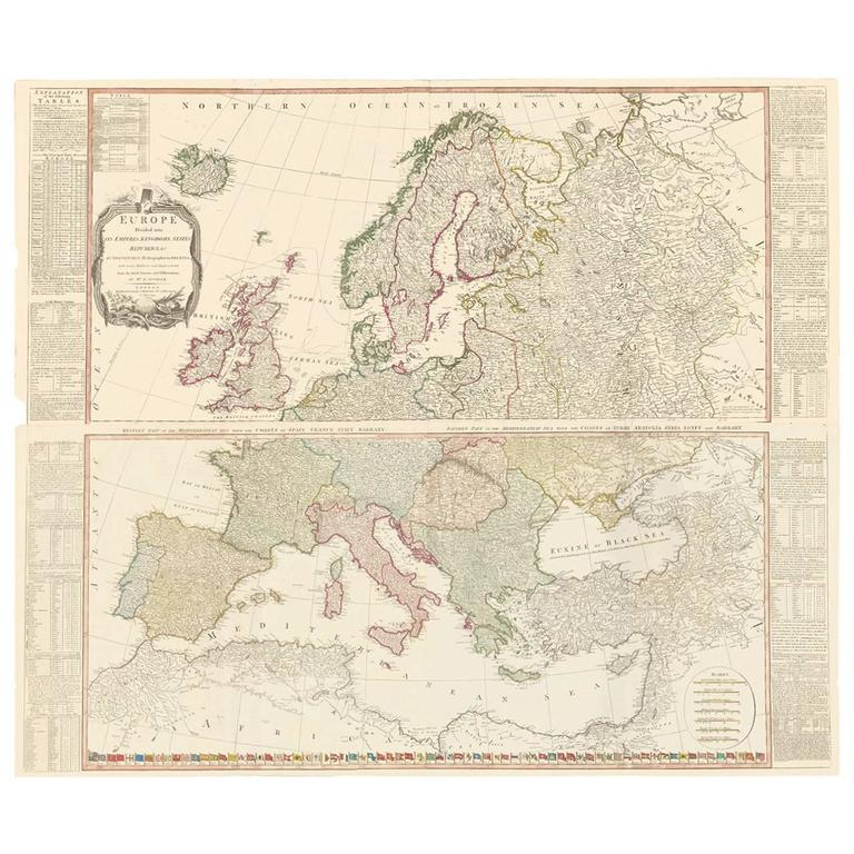 Thomas Kitchin - Two-Part Large Hand-Colored Map of Europe from 1798 ...