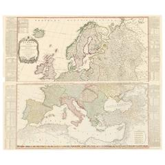 Two-Part Large Hand-Colored Map of Europe from 1798