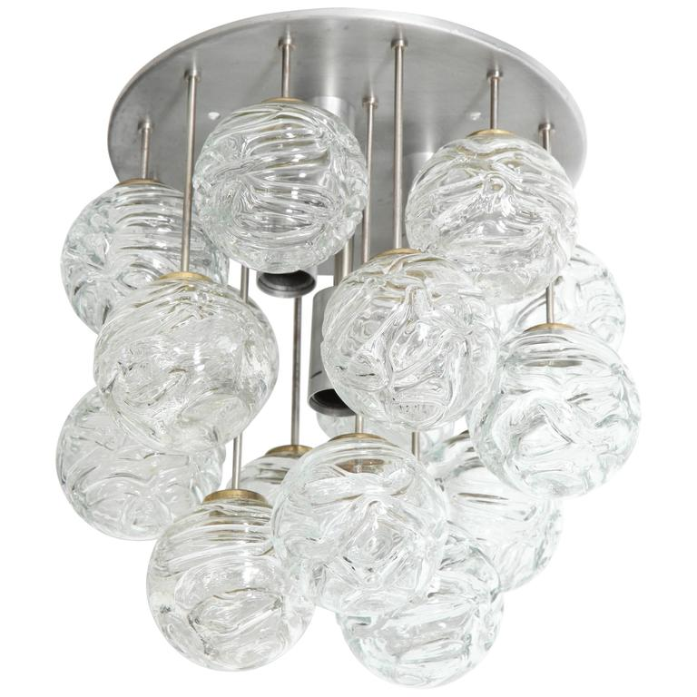 Glass Lollipop Flush Mount by Doria For Sale