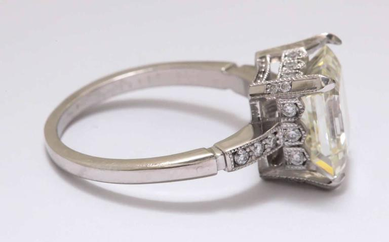 Vintage Asscher Emerald Cut 3 5 Carat Diamond Platinum Engagement Ring For Sa