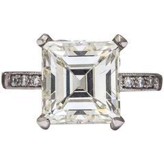 Vintage Asscher/Emerald Cut 3.5 Carat Diamond Platinum Engagement Ring
