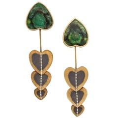 Rare Zobel Modernist Gold,Tourmaline and Diamond Pendant Earrings