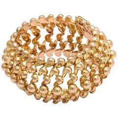 Retro Wide  Gold Bead  Cuff Bracelet