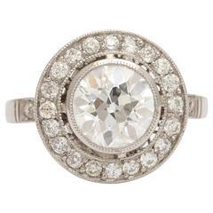 Vintage European Cut Diamond Target  Engagement Ring