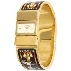 Hermes Equestrian Design Enamel Bangle Watch