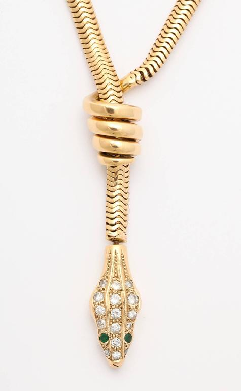 Rare Gold Snake Necklace with Diamond and Emerald Encrusted Head 5