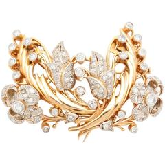 French Retro Diamond and Gold Clip or Brooch