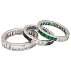 Art Deco Eternity Bands of Sapphires, Emeralds and Diamonds
