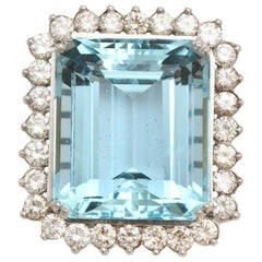 Large Aquamarine and Diamond Platinum and Gold Ring
