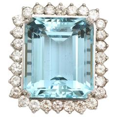 Large Aquamarine and Diamond Platinum and Gold Ring
