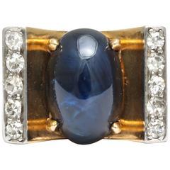 Art Deco Mauboussin Sapphire, Diamond, Gold Ring