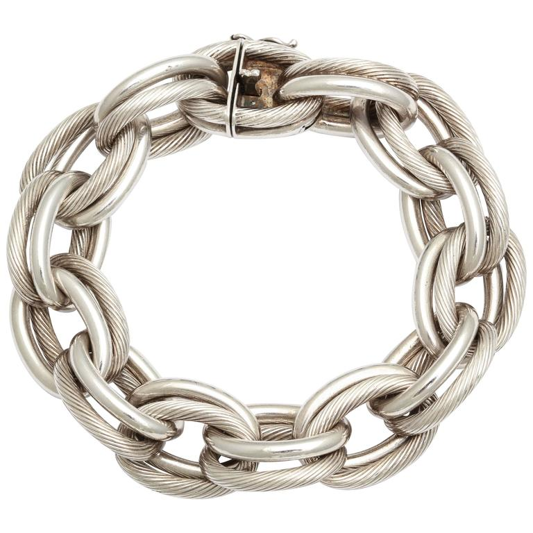 Vintage Hermes Heavy Linked Silver Chain Bracelet For Sale