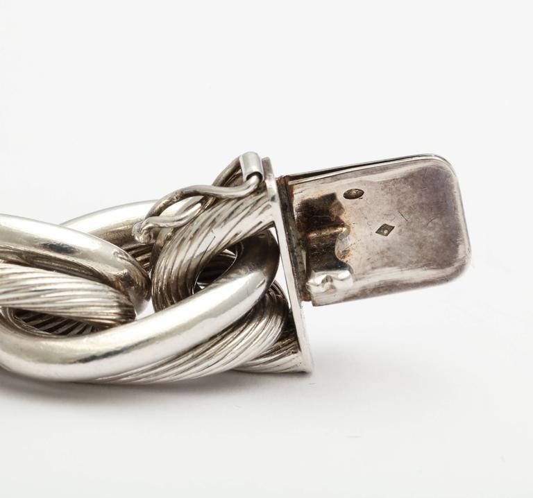 Modernist Vintage Hermes Heavy Linked Silver Chain Bracelet For Sale