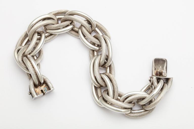 Women's Vintage Hermes Heavy Linked Silver Chain Bracelet For Sale