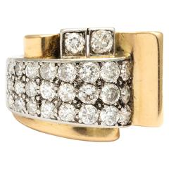 French Retro  Classic Design Gold and Diamond Ring
