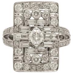 French Deco Style Diamond Platinum Ring