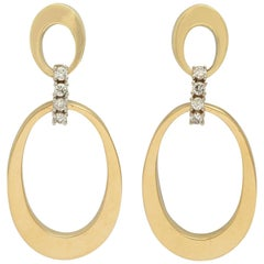 Modernist Diamond and Gold Earrings