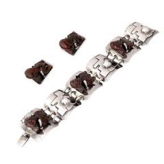 Carmen Beckmann Taxco Sterling Silver Frog Bracelet & Earrings Parure
