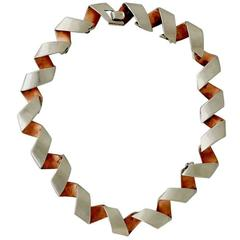 1950s Antonio Pineda Taxco Rare Copper .970 Silver Link Necklace