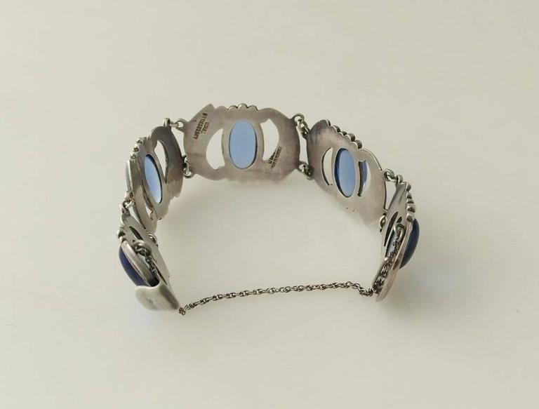 Los Castillo Sterling Silver & Blue Glass Necklace Bracelet Set 2