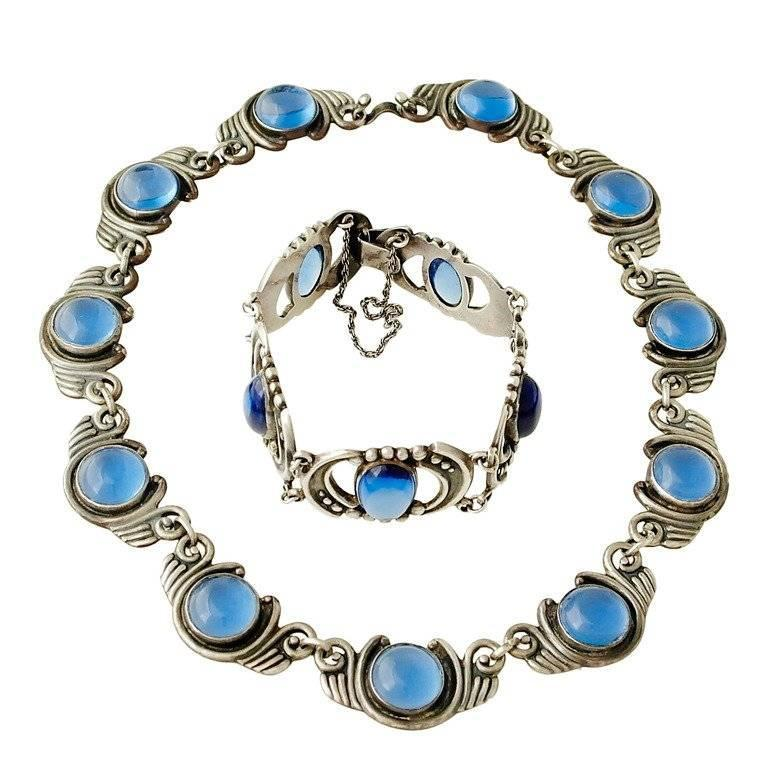 Los Castillo Sterling Silver & Blue Glass Necklace Bracelet Set 1
