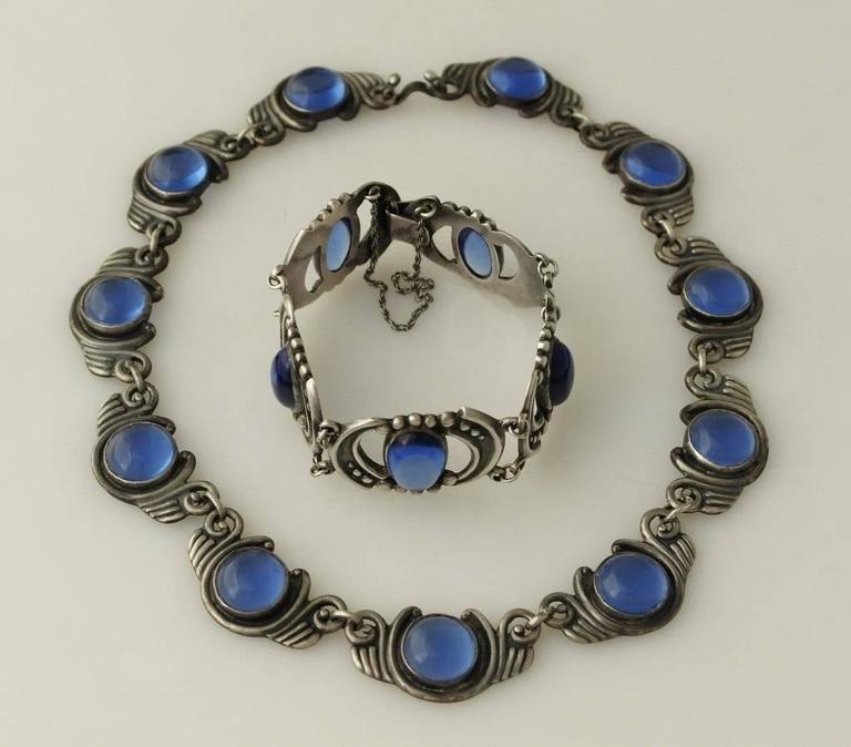 Los Castillo Sterling Silver & Blue Glass Necklace Bracelet Set 6