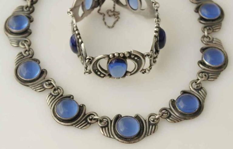 Los Castillo Sterling Silver & Blue Glass Necklace Bracelet Set 4