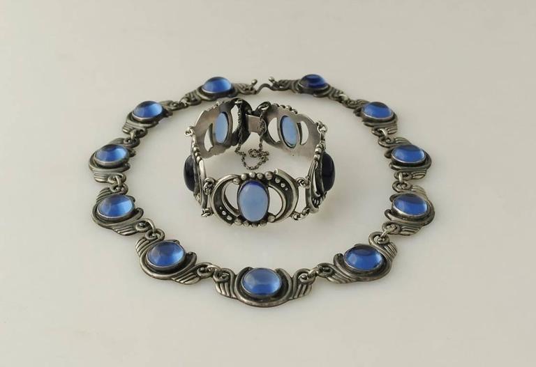 Los Castillo Sterling Silver & Blue Glass Necklace Bracelet Set 5