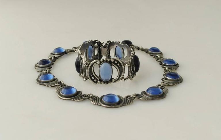 Los Castillo Sterling Silver & Blue Glass Necklace Bracelet Set 7