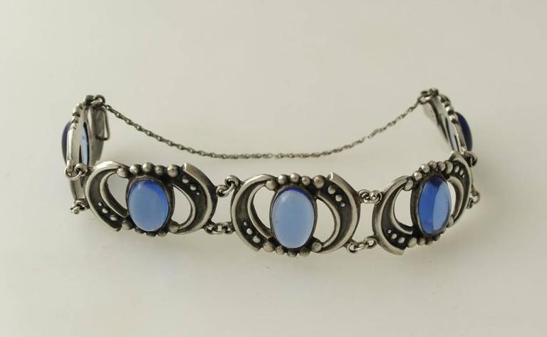 Los Castillo Sterling Silver & Blue Glass Necklace Bracelet Set 8