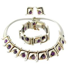 Modernist Taxco .970 Amethyst Silver Necklace Bracelet and Earring Set