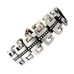 Margot de Taxco Sterling Silver Bracelet Double Greek Key Motif