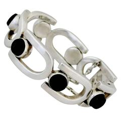 MODERNIST 1960 Antonio Pineda .970 Silver Onyx Bracelet U-shaped Links