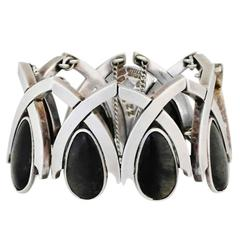Antonio Pineda .970 Silver & Onyx Modernist Bracelet