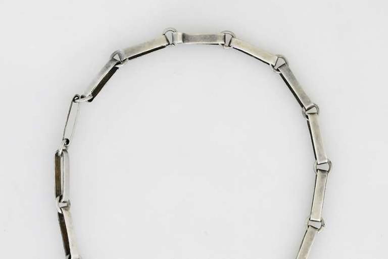 William Spratling Sterling Silver Shell Crossed Hands Necklace 1951 For Sale 5