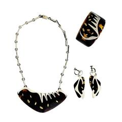 Enrique Ledesma Taxco Sterling Silver & Tortoise Shell Jewelry Suite 1953