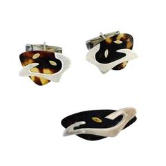 Enrique Ledesma Taxco Sterling Silver Tortoise Shell Cufflinks and Tie Clip