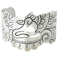 Taxco Doris Sterling Silver Handmade Eagle Cuff Bracelet