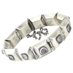 William Spratling Sterling Silver & Amethysts Bracelet